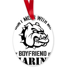 Marine Girlfriend Oval Ornament