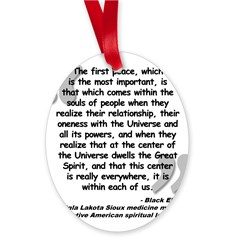 Black Elk Spirit Quote Oval Ornament