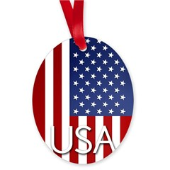 American Flag Oval Ornament