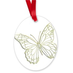 Embossed Butterfly Oval Ornament