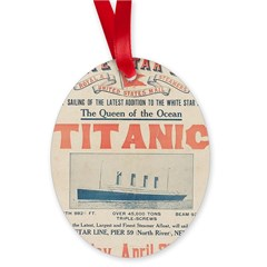 Titanic Advertising Card Oval Ornament