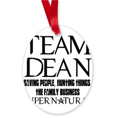 Team Dean Supernatural Winchester Oval Ornament