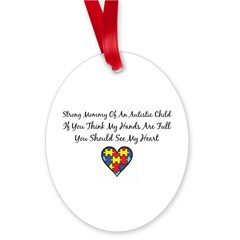 Strong Mom Oval Ornament