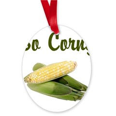 I LOVE CORN Oval Ornament