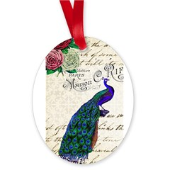 Vintage peacock collage Oval Ornament