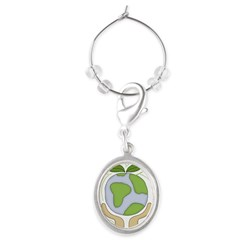 earthfriendhands.png Oval Wine Charm