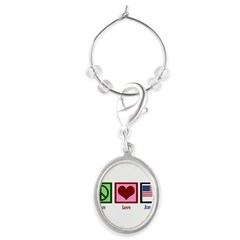 Peace Love America Oval Wine Charm