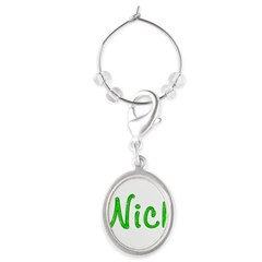 Nick Glitter Gel Large Oval Wine Charm