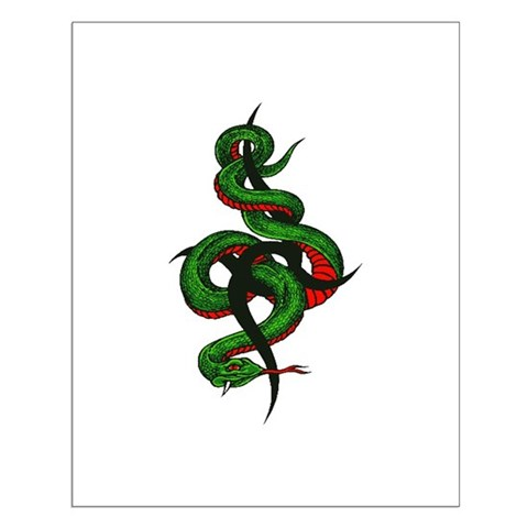 GREEN SNAKE TATTOO Posters. Made by www.LA-Tees.com