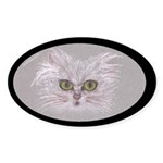 Green-eyed Cat Oval Sticker