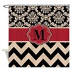 Red Tan Damask Chevron Shower Curtain