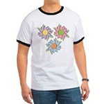 Pretty Mother's Day Cartoon Flowers Ringer T
