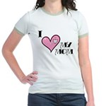 I Love Heart My Mom Mother's Day Jr. Ringer T-Shir