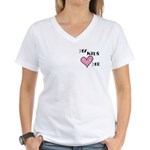 My Kids Love Heart Me Mom Teacher Women's V-Neck T