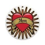 Red Heart Tattoo Mom Mother Ornament (Round)