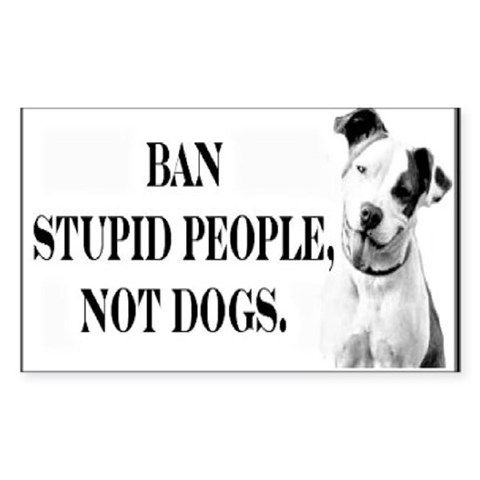 Ban Stupid People Not Dogs Sticker (Rectangular)