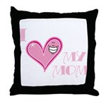 I Love Heart My Mom Mother's Pink Throw Pillow