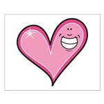 Pink Heart Cartoon Smile Smiley Small Poster