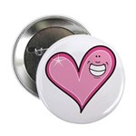 "Pink Heart Cartoon Smile Smiley 2.25"" Button (10 p"