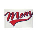 Baseball Style Swoosh Mom Rectangle Magnet