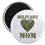 "Military Mom Camouflage Camo Heart 2.25"" Magnet (1"