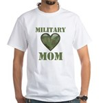 Military Mom Camouflage Camo Heart White T-Shirt