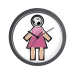 Pink Soccer Mom Cute Girl Art Wall Clock