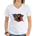 Chocolate Lab Flag Women's V-Neck T-Shirt