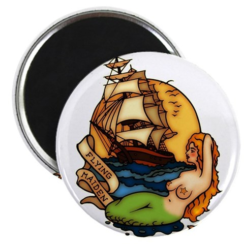 Mermaid n Pirate Ship Tattoo Art Magnet. Made by trendyteeshirts.com