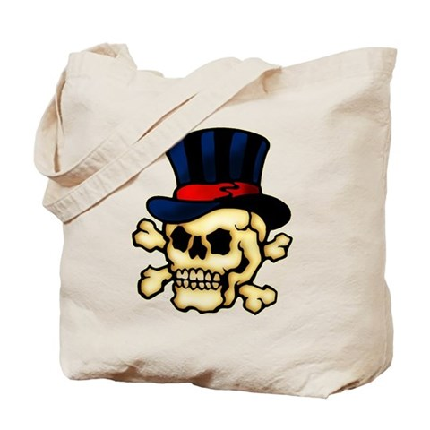 CafePress gt; Bags gt; Skull in Top Hat Tattoo Art Tote Bag. Skull in Top Hat Tattoo Art Tote Bag