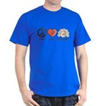 Peace Love Heart Beethoven T-Shirt Royal Blue
