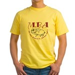 MBA Bacon Pig Yellow T-Shirt