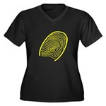 Subtle Thumb Print Women's Plus Size V-Neck Dark T
