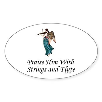 Praise Him With Strings Oval Sticker