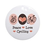 Bicycle Peace Love Cycling Ornament (Round)