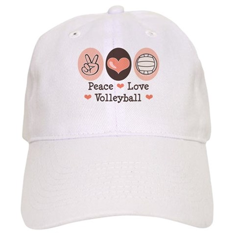 Peace Love Volleyball Baseball Cap. Made by Chrissy H. Studios, LLC on February 10, 2008 at 4:38 PM