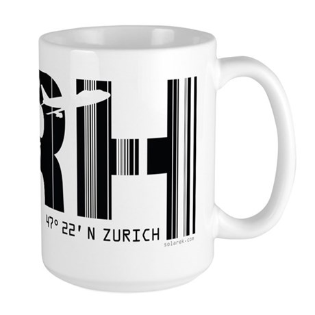 Zurich Switzerland ZRH Air Wear Airport Large Mug