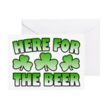 Here for the Beer Shamrock Greeting Cards (Pk of 1