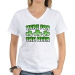 Here for the Beer Shamrock Women's V-Neck T-Shirt