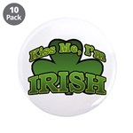 "Kiss Me I'm Irish Shamrock 3.5"" Button (10 pack)"