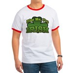Kiss Me I'm Irish Shamrock Ringer T