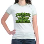 Irish You Were Beer Shamrock Jr. Ringer T-Shirt