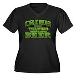 Irish You Were Beer Shamrock Women's Plus Size V-N