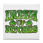 Distressed Drink Up Bitches Shamrock Tile Coaster