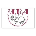 MBA Bacon Pig Rectangle Sticker 50 pk)
