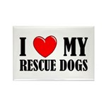 Love My Rescue Dogs Rectangle Magnet