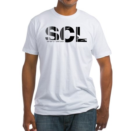 Santiago Airport Code Chile SCL Fitted T-Shirt