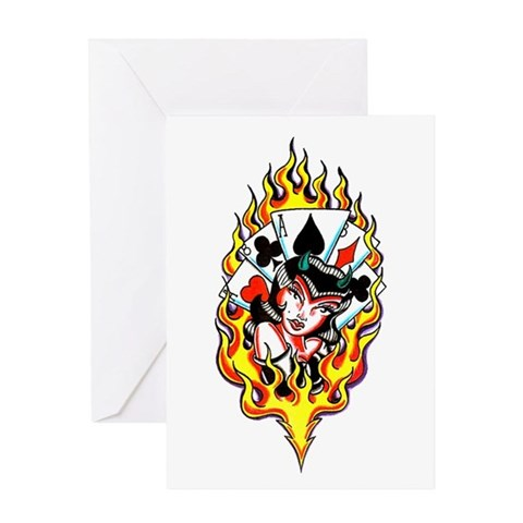 Devil Tattoos on Gambling She Devil Tattoo Greeting Card