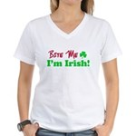 Bite Me I'm Irish Women's V-Neck T-Shirt