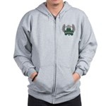 Irish Shamrock Celtic Cross Zip Hoodie